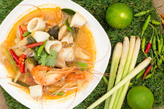 Tom yum goong. Thai hot and spicy soup seafood with shrimp - Thai Cuisine Royalty Free Stock Images