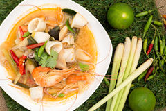 Tom yum goong. Thai hot and spicy soup seafood with shrimp - Thai Cuisine Stock Image