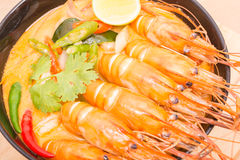Tom Yum Goong, Thai hot spicy soup shrimp on Black Cup Stock Image