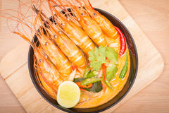 Tom Yum Goong, Thai hot spicy soup shrimp on Black Cup Royalty Free Stock Photo