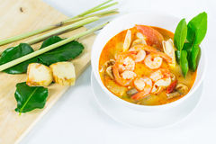 Tom Yum Goong - Thai hot and spicy soup with shrimp. Tom Yum Goong - Thai hot and spicy soup with shrimp - Thai Cuisine Royalty Free Stock Photography