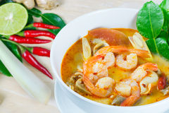 Tom Yum Goong - Thai hot and spicy soup with shrimp. Tom Yum Goong - Thai hot and spicy soup with shrimp - Thai Cuisine Stock Photography
