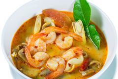 Tom Yum Goong - Thai hot and spicy soup with shrimp. Tom Yum Goong - Thai hot and spicy soup with shrimp - Thai Cuisine Royalty Free Stock Photos