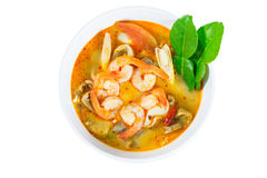 Tom Yum Goong - Thai hot and spicy soup with shrimp - Thai Cuisi Stock Photo