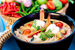 Tom Yum Goong. Thai hot and spicy soup with shrimp - Thai Cuisine Stock Photo
