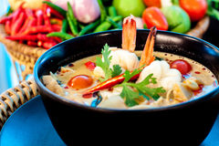 Tom Yum Goong. Thai hot and spicy soup with shrimp - Thai Cuisine Royalty Free Stock Photography