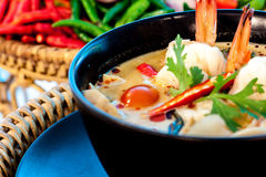 Tom Yum Goong. Thai hot and spicy soup with shrimp - Thai Cuisine Stock Image