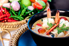 Tom Yum Goong. Thai hot and spicy soup with shrimp - Thai Cuisine Royalty Free Stock Image