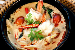 Tom Yum Goong. Thai hot and spicy soup with shrimp - Thai Cuisine Royalty Free Stock Images