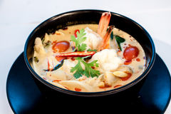 Tom Yum Goong. Thai hot and spicy soup with shrimp - Thai Cuisine Royalty Free Stock Photo