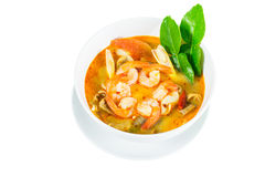Tom Yum Goong - Thai hot and spicy soup with shrimp. Tom Yum Goong - Thai hot and spicy soup with shrimp on white background - Thai Cuisine Stock Images
