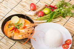 Tom Yum Goong, Thai hot spicy soup shrimp Royalty Free Stock Photo