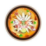 Tom Yum Goong or Thai Sour Soup with Prawns Royalty Free Stock Photo