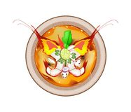 Tom Yum Goong or Thai Sour Soup with Prawns Stock Photos