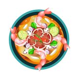 Tom Yum Goong or Thai Sour Soup with Shrimps Stock Photography