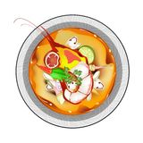 Tom Yum Goong or Thai Spicy Sour Soup with Prawns Stock Photos
