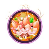 Tom Yum Goong or Thai Spicy Sour Soup with Prawns Stock Image