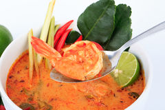 Tom Yum Goong, the Thai style hot and sour prawn soup Royalty Free Stock Photos