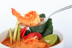 Tom Yum Goong, the Thai style hot and sour prawn soup Stock Images