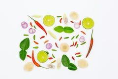 Tom Yum, ingredientes tailandeses para o alimento tailandês, sopa popular Tom Yum, no fundo branco fotografia de stock royalty free