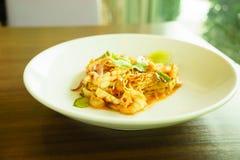 Tom yum koongspagetti Royaltyfri Bild