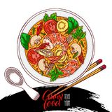 Tom yum kung. Asian food. tom yum kung. appetizing traditional Thai soup with shrimps. Hand-drawn illustration Stock Photo