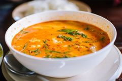 Tom yum Kung, caril picante do camarão, alimento nacional tailandês imagem de stock