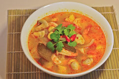 Tom Yum Kung - Hot Spicy Sour Thai herbal soup with prawn Stock Photos