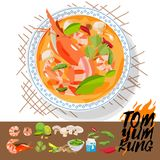 Tom Yum Kung with ingredients. Thai food concept -  illust. Ration Royalty Free Stock Images