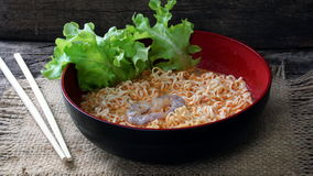 Tom Yum Kung Noodle. Tom Yum Kung.Thai soup, usually cooked with shrimp. Its hot and sour flavours. Instant noodles are a precooked and have dried noodle block Stock Images