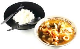 Tom Yum Kung with rice Stock Photos