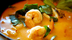 Tom yum kung soup, delicious Thai food Stock Photos