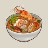 Tom Yum Kung soup illustration Royalty Free Stock Image