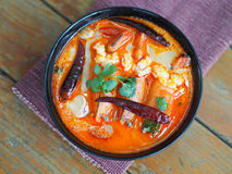 Tom Yum Kung, Sour prawn soup. In Thai style restaurant Stock Image