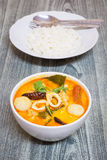 Tom Yum Kung-Thai spicy soup with Thai Jasmine Rice Royalty Free Stock Photos