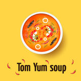 Tom yum kung - thai spicy soup. Top view Stock Image