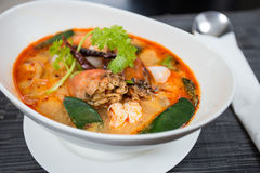 Tom Yum Kung. Thai spicy and sour soup.It has been popularised around the world Royalty Free Stock Photo