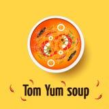 Tom yum kung - Thaise kruidige soep Hoogste mening Stock Afbeelding
