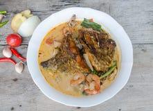 Tom Yum Kung und Fische - thailändische würzige Suppe lizenzfreies stockfoto