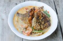 Tom Yum Kung und Fische - thailändische würzige Suppe lizenzfreie stockfotografie