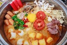 Tom Yum Noodle kulturmat, Thailand Arkivbilder