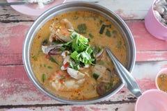 Tom Yum Seafood ou sopa misturada do marisco de alimentos tailandeses imagem de stock royalty free