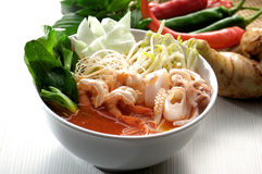 Tom Yum seafood soup with noodles Royalty Free Stock Photography