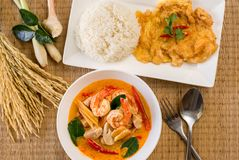 Tom yum seafood spicy typical Thai soup,Delicious Thai food style Cuisine. Top view royalty free stock photos