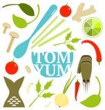 Tom Yum Soup Food Set Stock Photo