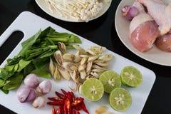 Tom Yum Soup Ingredients thaïlandais Photographie stock
