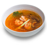 Tom yum soup isolated. On white background Royalty Free Stock Photo