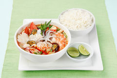 Tom Yum Soup, Thai Food with rice Stock Images