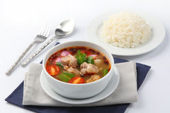 Tom Yum Soup, Thai Food with rice Stock Photography
