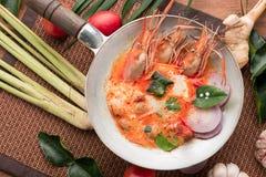 Tom Yum soup or tom yum goong, a Thai traditional spicy prawn so Stock Photos